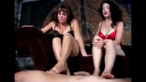 Mature foot fetish honeys enjoy their slave