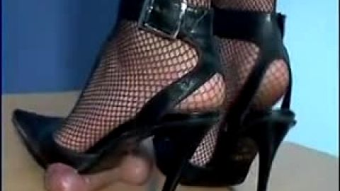Pointy heels crushing cock until orgasm