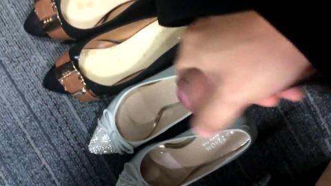 Ejaculating into two pairs of shoes