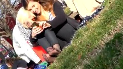 Teen toes candid view outside while she and friend texts