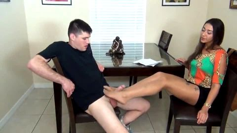 Footjob from Latina in pantyhose