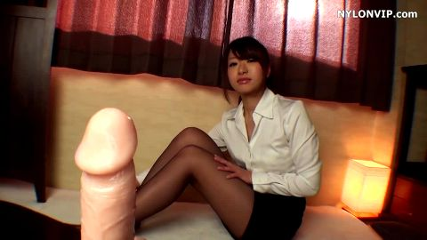 Rubber phallus footjob from adorable Asian