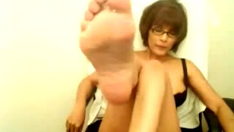 Busty mature foot teasing whore
