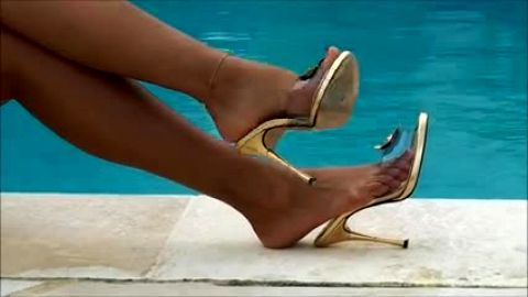 Sexy sandal teasing at the pool