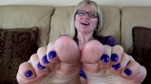 Dirty soles and blue nail polish
