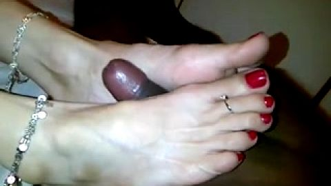 Sultry footjob for black cock