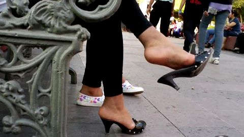 Shoe dangling hotties in public