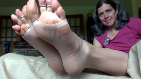 Amateur feet in ultra closeup view