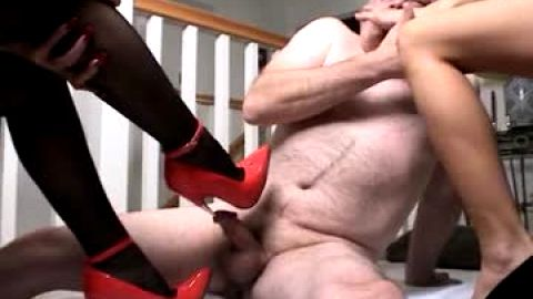 Urethra sounding with skinny heel.. He likes the pain