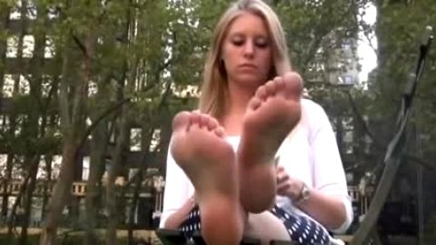 Black scarpins removed to show off high soles