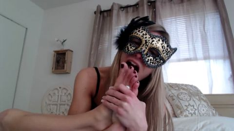Self toe licking blonde brat