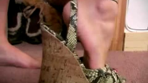 Clips of sultry blonde in different shoes