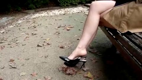 Black High Heel Tease in the Park