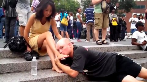 Man Licks Asian Feet And Gets Patted On The Head Out In Public
