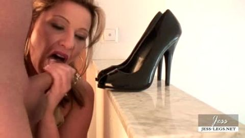 Jess-legs blows him and he cums in her shoes