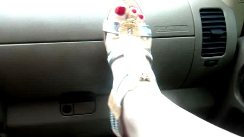 Showing off zippered t-strap platforms