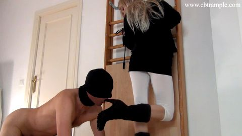 CBT slave trampled by foot goddess