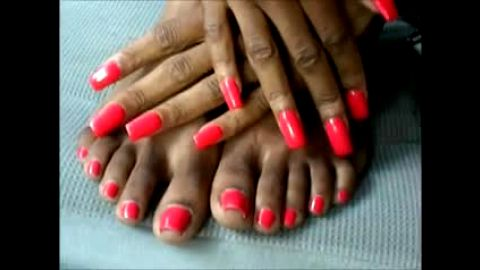 Painted Hands and Feet of Ebony Goddess Ready to Expose All