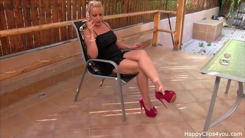 Smoking amateur dangles open toed Pump Stilettos