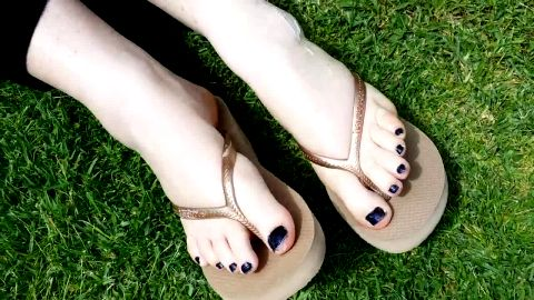 Woman With Sexy Feet In Sandals Walks 'Round Outdoors Then Shows Off Her Luscious Little Feet