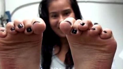 Cute Latina Hiding In Storage Closet Takes Off Her Shoes To Reveal Her Sexy Little Bare Latina Feet