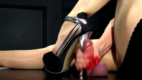 High stiletto t-straps and glory hole handjob