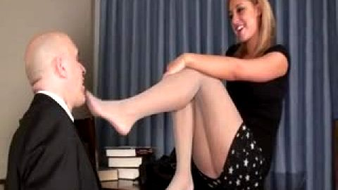 Long Legged Secretary bosses her boss around - Footdom