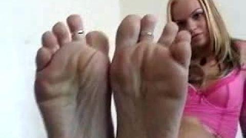 Amateur's big feet look like nice treat