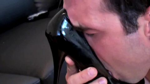 Sexy Milf Dominates Boy Toy that Licks Black High Heels