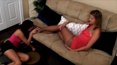 Her hot lawyer smells her stinky stockinged feet