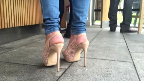 Wicked slingback stilettos in public