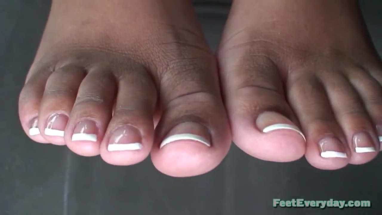Ebony French Tip Footjob