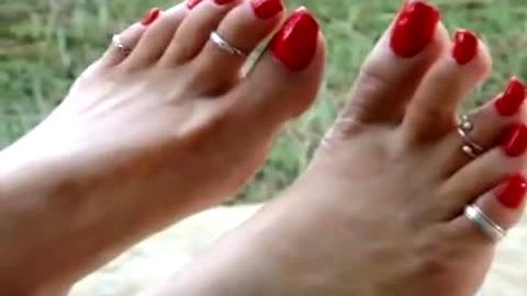 Beautiful Feet With Sexy Toe Rings And Long Red Toe Nails Get Dangled Before You