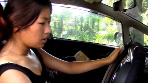 Pumping Asian Amanda annoyed car won't start