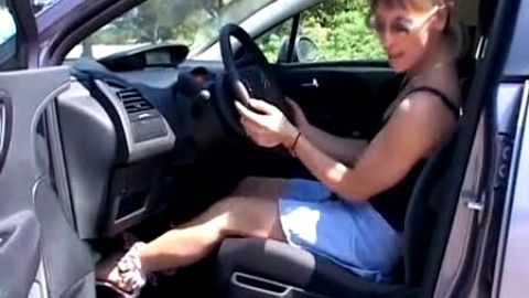 Luscious Little Tatiana Gently Caresses The Steering Wheel, Then Plays Around With The Pedals