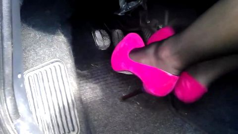 Girl in suede pink pumps pumping pedals