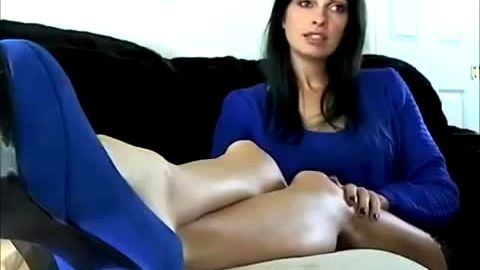 Sexy Cougar Kicks Back On The Couch And Shows Off Her Nice Bare Feet With Black Nail Polish