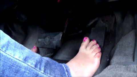 Girl Wearing Jeans With Pink Toe Nails Pumps The Gas Pedal Like Crazy