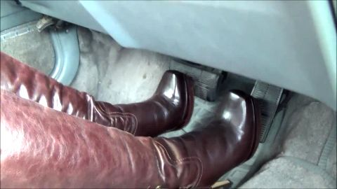 Watch This Sexy Woman In Tight-Red Leather Boots Push Down The Car Pedals