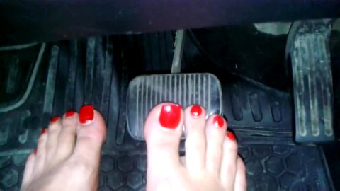 Painted Nails Barefoot Babe Driving