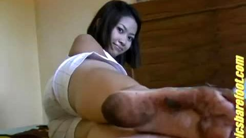Adorable Asian Girl Gives You a Real Close Up Of Her Cute, Dirty Feet