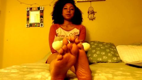 Cute Young Little Black Girl Relaxes On Her Bed And Shows You Her Adorable Little Bare Feet