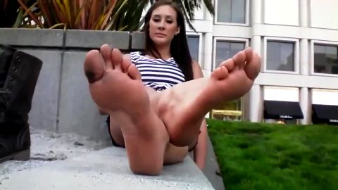 Absolutely Stunning Woman Relaxes Outdoors And Displays Her Dirty Little Feet For The Camera