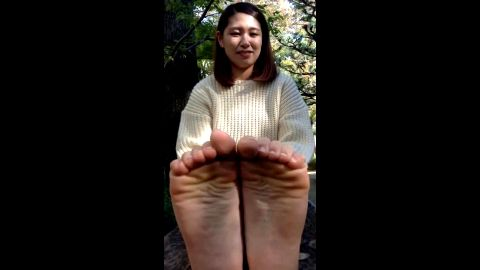 Sexy Older Asian Woman Shows You Her Bare Feet... Up Close and Personal