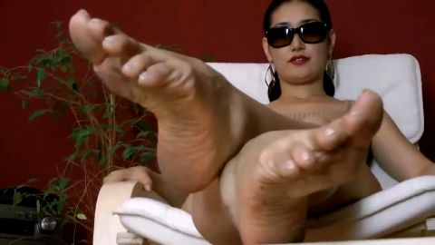 Sexy Lounging Asian Gal Shows Off Her Nasty, Dirty Little Asian Feet