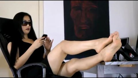 Absolutely Gorgeous Asian Girl In The Office Let's You Stare At Her Feet