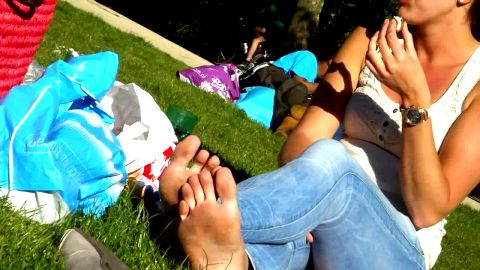 Sexy Older Woman Relaxes At Picnic While Her Beautiful Little Feet Get Dirty