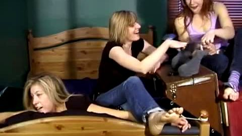 Girls tickle their hot constrained blonde friend