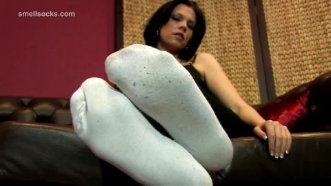 Luscious Brunette in White Socks Ready for Hot Action