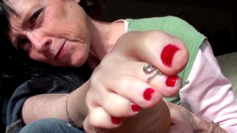 Mature Red Painted Milf Foot Tease